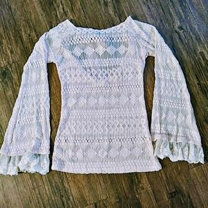 A'reve Long Bell Sleeve Lacy Top